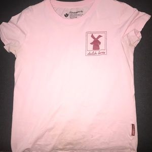 "Women's pink dutch bros "" a better world"" tee"